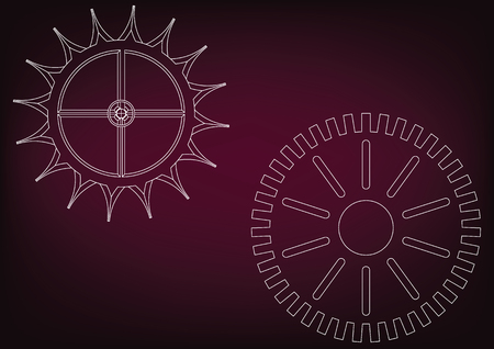 White cogwheels on a burgundy background. Drawing illustration. Stock Illustratie