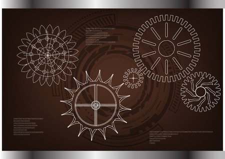 White cogwheels on a brown background. Drawing illustration.