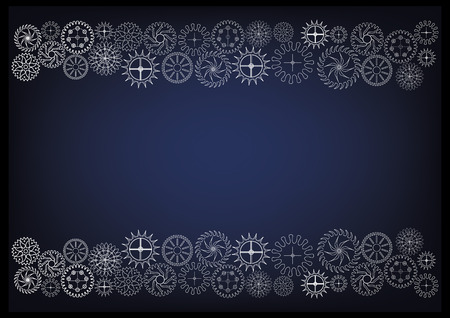 white cogwheels on a blue background. Drawing.