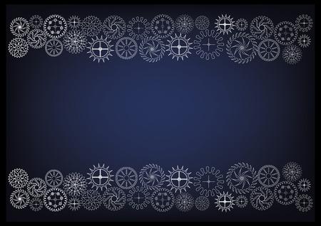 witte tandwielen op een blauwe achtergrond. Tekening.