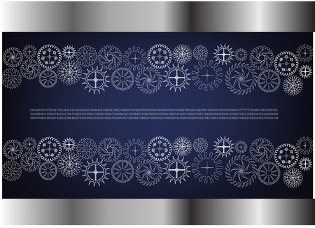 White cogwheels on a blue background. Illustration