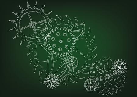 White cogwheels on a green background. Stock Illustratie
