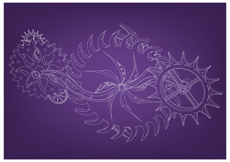 White cogwheels on a purple background.