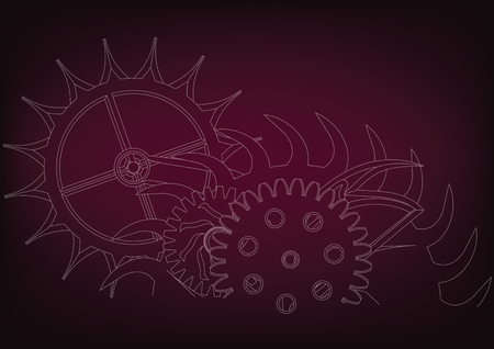 white cogwheels on a burgundy background. Drawing. Stock Illustratie