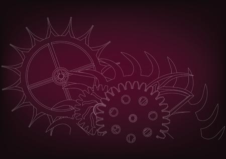 white cogwheels on a burgundy background. Drawing. Stock Illustratie