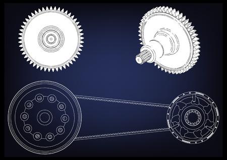 Belt gear on a blue background, vector image.