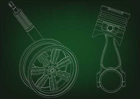 Piston and wheel with shock absorber on a green background.