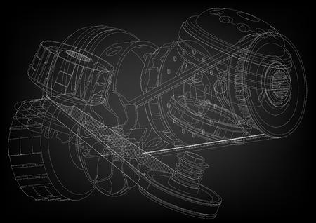 Belt gear on a black background, vector image