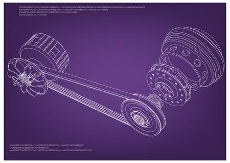 Belt gear on a purple background, vector image