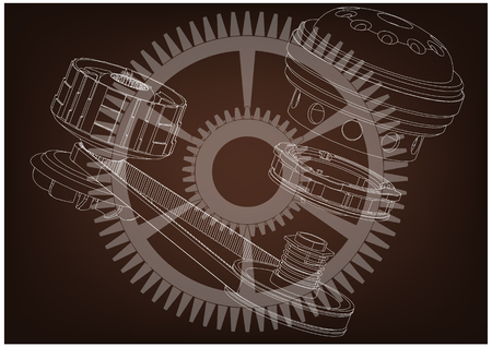 Belt gear on a brown background, vector image.