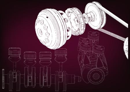 The car engine on a burgundy background.