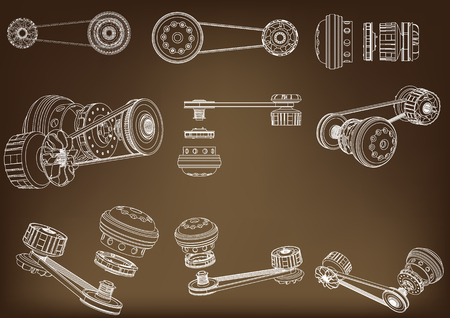 Belt gear on a brown background, vector image