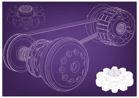 Belt gear on a purple background, vector image.
