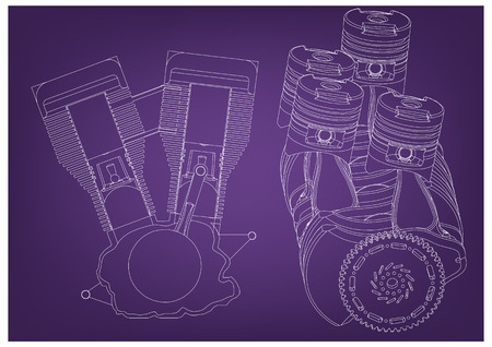 Machine building drawing. The car engine on a purple background. 3d