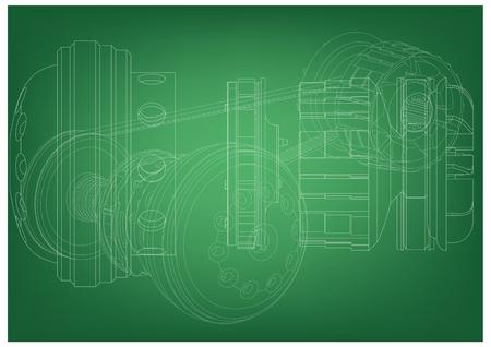 Belt gear on a green background, vector image. Illustration