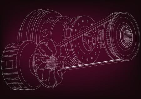 Belt gear on a burgundy background, vector image. Illustration