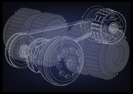 Belt gear on a blue background, vector image