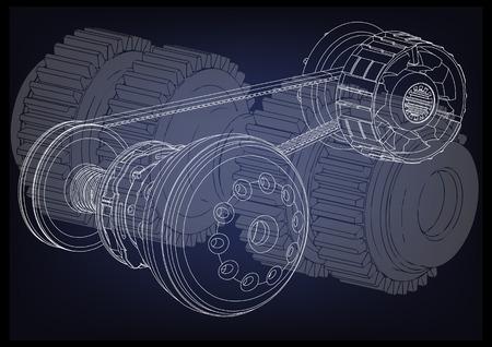 Belt gear on a blue background, vector image