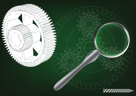 3d model of the planetary mechanism on a green background. Gear Illustration