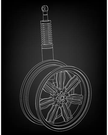 wheel and shock absorber on a black background Stock Illustratie