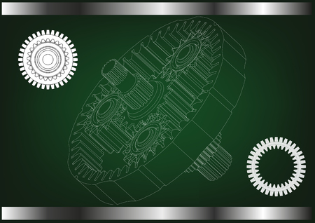 3d model of the planetary mechanism on a green background.