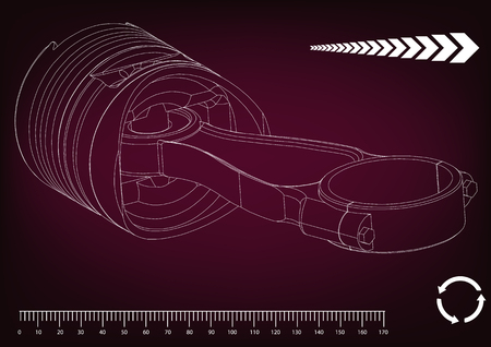 3d model of piston on burgundy background. Drawing Vector illustration. Stock Illustratie