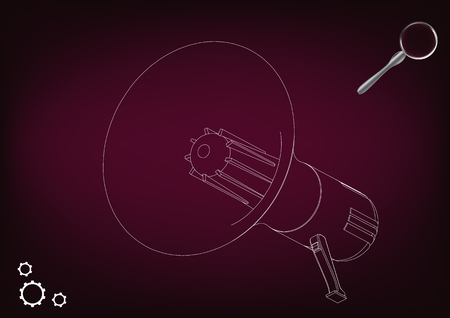 3d model of a speaker on a burgundy background. Drawing