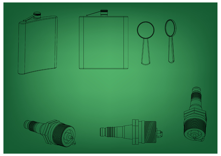 3d model of the spark plug on a green background. Drawing Illustration