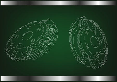 3d model of the brake disc on a green background.