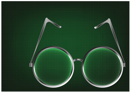 Metal glasses on a green background