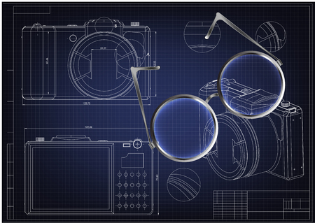 3d model of the camera on a blue background. Drawing