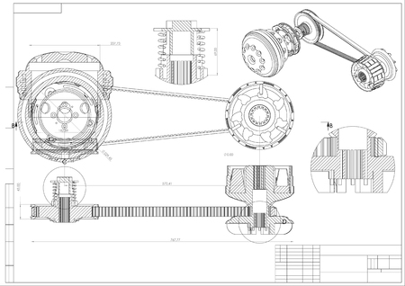 engineering drawing on a white background. 3d Illustration