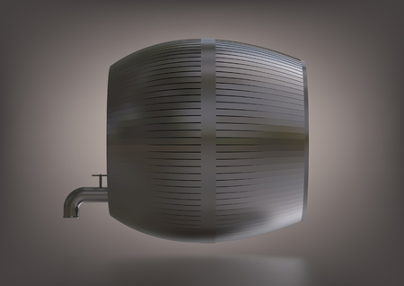 A silver barrel on a gray background. 3D rendering 版權商用圖片