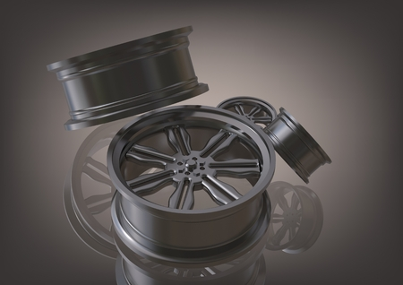 Silvery car wheels on a gray background. 3D rendering