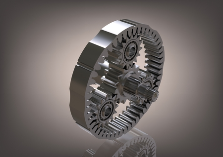 Silvery planetary gear on a gray background. 3D rendering Stock Photo