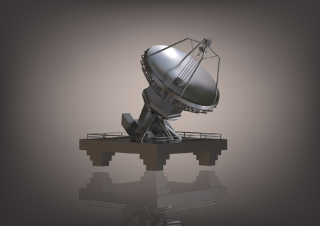 Silvery satellite dish on a gray background. 3D rendering