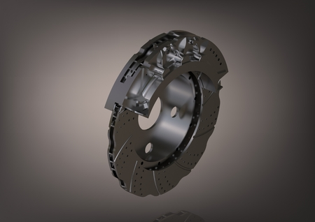 Silver brake disc on a gray background. 3D rendering 版權商用圖片