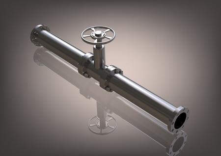 Silver pipeline on a gray background. 3D rendering Reklamní fotografie - 106531637