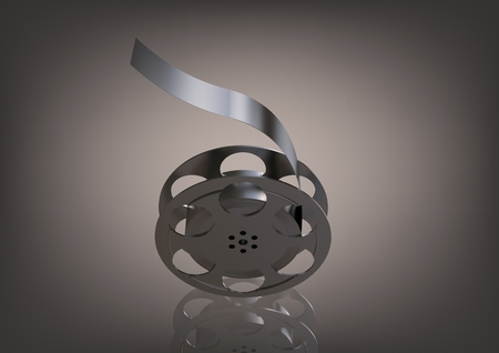 Silver film on a gray background. 3D rendering