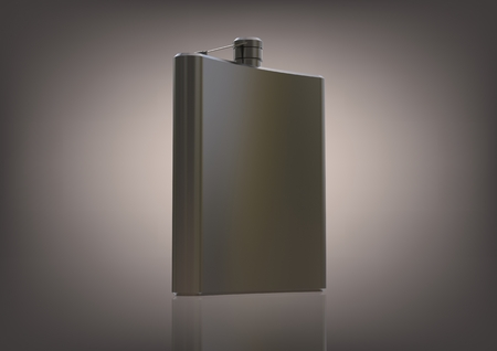 Silvery flask for alcohol on a gray background. 3D rendering