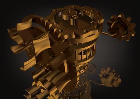 Golden gear mechanism on a black background. 3D rendering