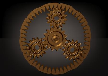 Goldenes Planetengetriebe auf einem schwarzen Hintergrund. 3D-Rendering