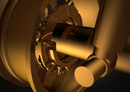 Gold wheel and shock absorber on a black background. 3D rendering