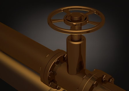 Golden pipeline on a black background. 3D rendering