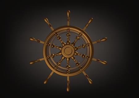 Golden handwheel on a black background. 3D rendering