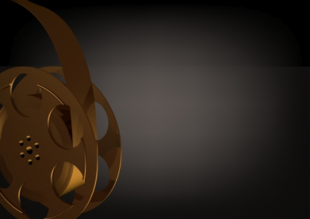Golden film on a black background. 3D rendering
