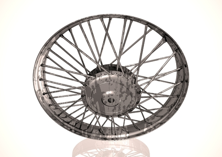 Silver and black wheel on a white background. 3D rendering