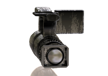 A silver and black camera on a white background. 3D rendering