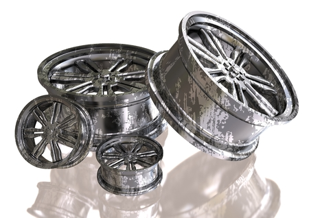 Silver and black wheels on a white background. 3D rendering Standard-Bild