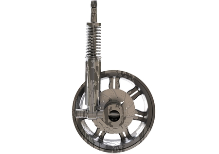 Silver and black wheel and shock absorber on a white background. 3D rendering Stock Photo